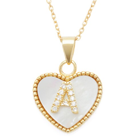 La Preciosa Sterling Silver Goldplated Mother of Pearl Cubic Zirconia Initial Heart Necklace