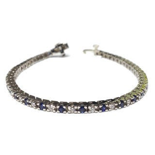 Diamonds For A Cure 14k White Gold 1 1/3ct TDW Blue Sapphire and Diamond Tennis Bracelet (G-H, SI1-SI2)