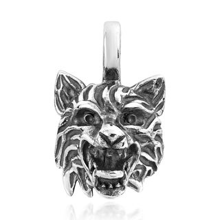 Howling Wild Wolf Head .925 Sterling Silver Pendant (Thailand)