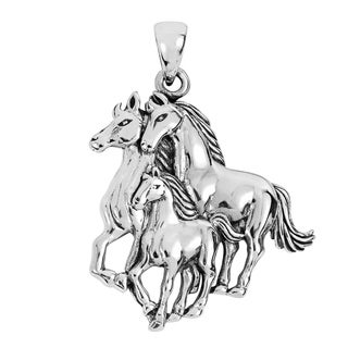 Handmade Equastrian Family Sterling Silver Three Horses Pendant