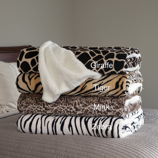 Windsor Home Soft Animal Print Blanket with Sherpa Backing