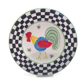 'Proud Fools' Rooster Ceramic Decorative Serving Platter (Italy)