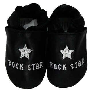 Rock Star Black Leather Baby Shoes