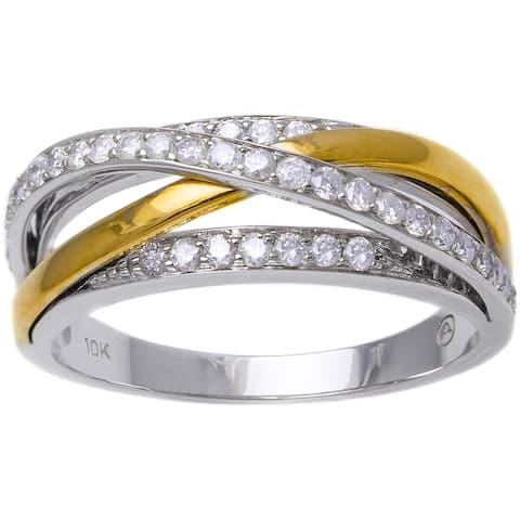 10k Two-tone Gold 1/2ct TDW Multi-Row Crossover Diamond Ring (H-I, I2-I3)