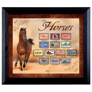 American Coin Treasures Horses on Stamps Wall Frame