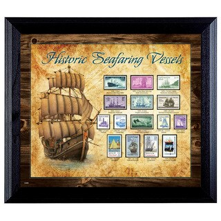American Coin Treasures Ships on Stamps Wall Frame