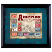 American Coin Treasures America Takes Flight Stamp Collection Wall Frame