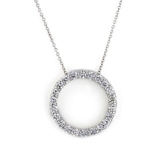 Diamonds For A Cure 14k White Gold 1ct TDW Circle Diamond Necklace (G-H, SI1-SI2)