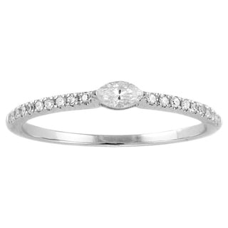Beverly Hills Charm 14k White Gold 1/5ct Marquise Diamond Stackable Band Ring