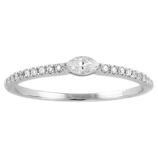 14k White Gold 1/5ct Marquise Diamond Stackable Band Ring