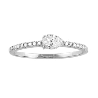14k White Gold 1/3ct Pear Diamond Stackable Band Ring