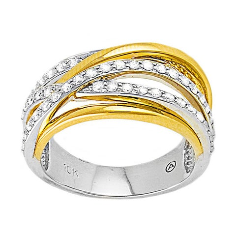 Beverly Hills Charm 10k Two-tone Gold 1/2ct TDW Multi-row Crossover Diamond Ring
