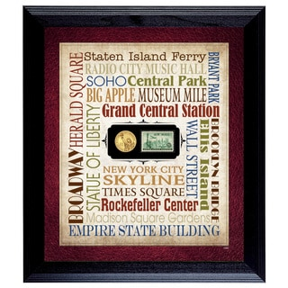 American Coin Treasures Liberty Lives New York City Coin and Stamp Wall Frame