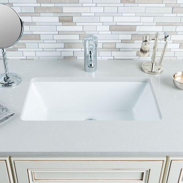 Shop Hahn Ceramic Medium Rectangular Bowl Undermount White Bathroom
