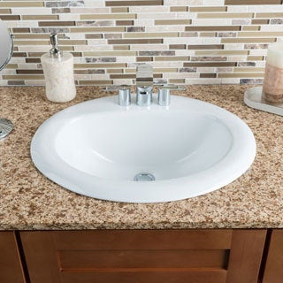 Hahn Ceramic Large Oval Bowl White Drop-in Bathroom Sink
