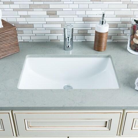 Hahn White Ceramic Large Rectangular Undermount Bathroom Sink