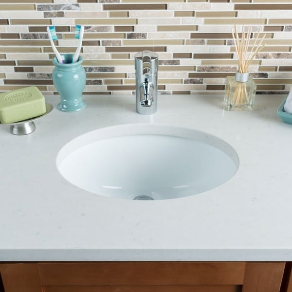 Hahn Ceramic Small Oval Bowl Undermount White Bathroom Sink - Free ...