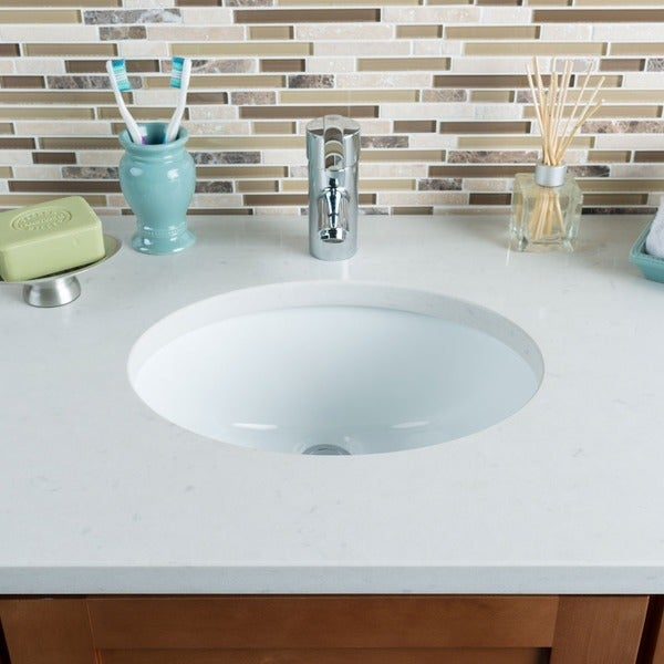 Hahn White Ceramic Small Oval Bowl Undermount Bathroom Sink