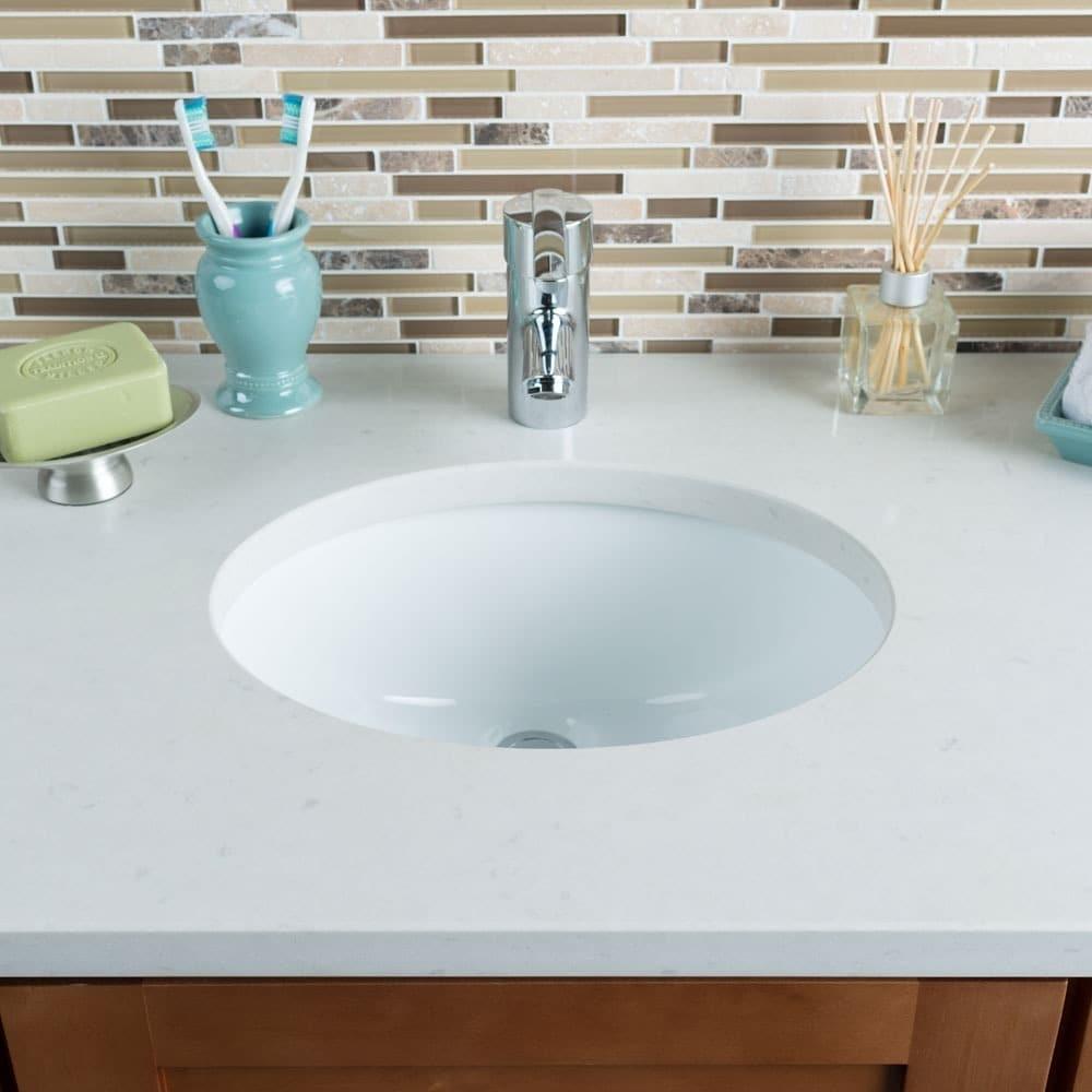 Hahn Ceramic Small Oval Bowl Undermount White Bathroom Si...