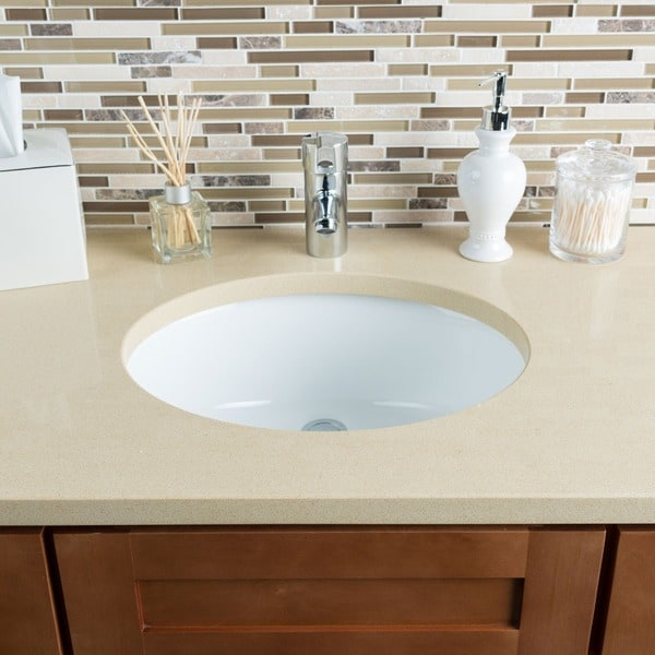 Shop Hahn Ceramic White Medium Oval Bowl Undermount Bathroom Sink