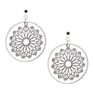 La Preciosa Black Plated Sterling Silver and Single Cubic Zirconia Circle Earrings