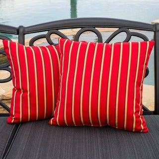 Christopher Knight Home Hardwood Crimson Red Striped Outdoor Sunbrella Pillow (Set of 2)