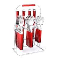Cambridge Temptation Red Plastic Stainless Steel 16-piece Flatware Set