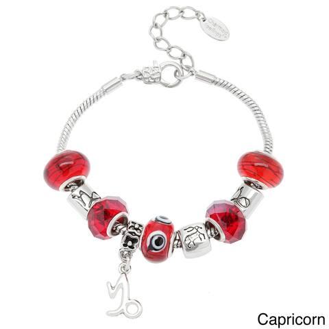 La Preciosa Silvertone Multi-colored Glass Beads Horoscope Charm Bracelet