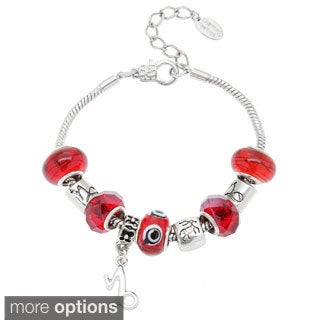 La Preciosa Silvertone Multi-colored Glass Beads Horoscope Charm  Bracelet