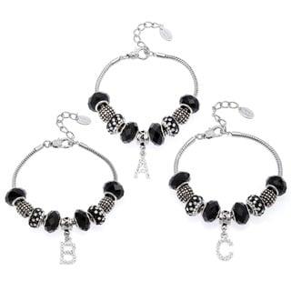 La Preciosa Silvertone Black Glass and Bead Initial Charm Bracelet