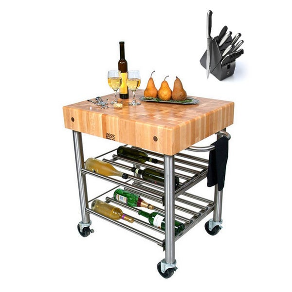Shop john boos cucd15wc cucina maple d 39 amico 30 x 24 x 35 wine cart and henckels 13 piece knife - D amico cucina ...