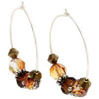 .925 Sterling Silver Brown/ Amber Crystal Hoop Earrings