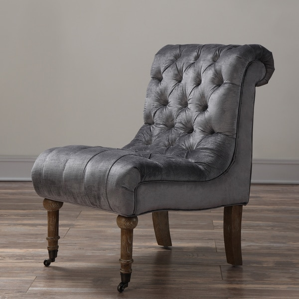 Shop Vivi Grey Velvet Slipper Chair Free Shipping Today
