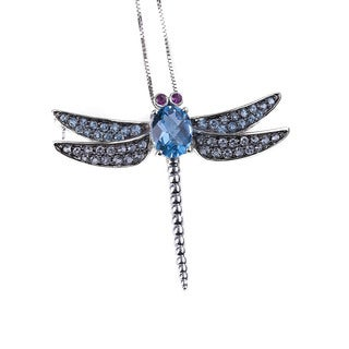 14k White Gold Ruby and Blue Topaz Dragonfly Necklace