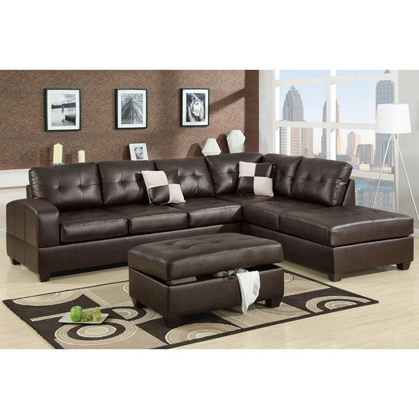 Berane Reversible All Around Bonded Leather Sectional Couch - Free