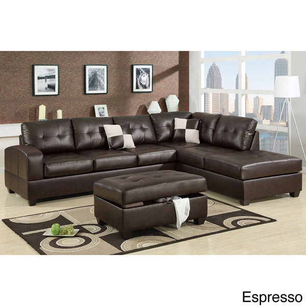 Reversible Sectional Sofa White Bonded Leather Match Sofas: Berane Reversible All Around Bonded Leather Sectional