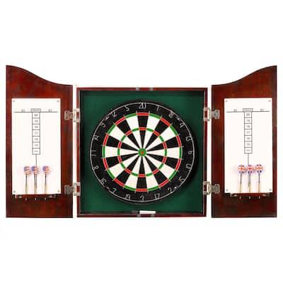 Hathaway Centerpoint Solid Wood Dartboard & Cabinet Set - Dark Cherry Finish