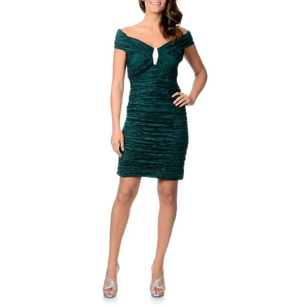 Cachet Women's Ruched Taffeta Cocktail Dress