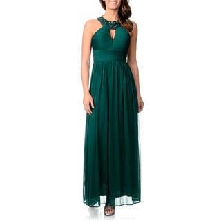 Cachet Women's Keyhole Halter Gown
