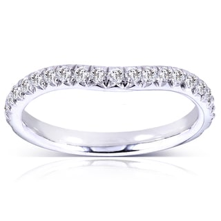 Annello by Kobelli 14k Gold 1/4ct TDW Round Diamond Curved Wedding Band