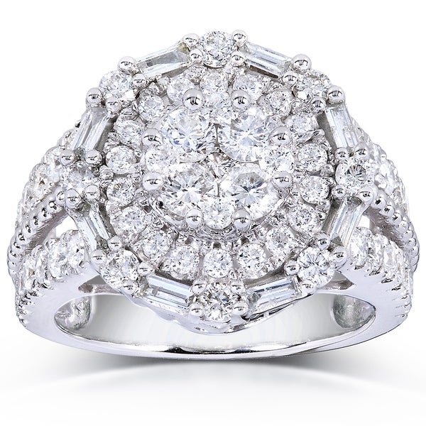 Annello by Kobelli 14k White Gold 1 3/4ct TDW Round and Baguette Diamond Composite Ring (