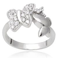 Journee Collection Sterling Silver Cubic Zirconia Butterfly Ring