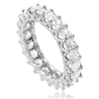 Journee Collection Sterling Silver Cubic Zirconia Bridal Style Band (4 mm)