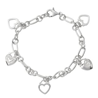Journee Collection Sterling Silver Cubic Zirconia Charm Bracelet