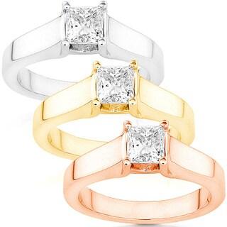 Annello by Kobelli 14k White Gold 5/8ct TDW Diamond Solitaire Ring (G-H/ I1-I2)