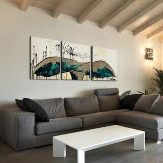 TJ Walton 'Whale Tail Aqua' 24x72-inch Triptych Canvas Art Print