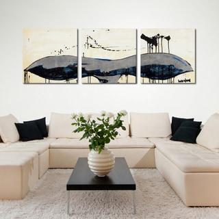 TJ Walton 'Whale Tail Blue' 24x72-inch Triptych Canvas Art Print