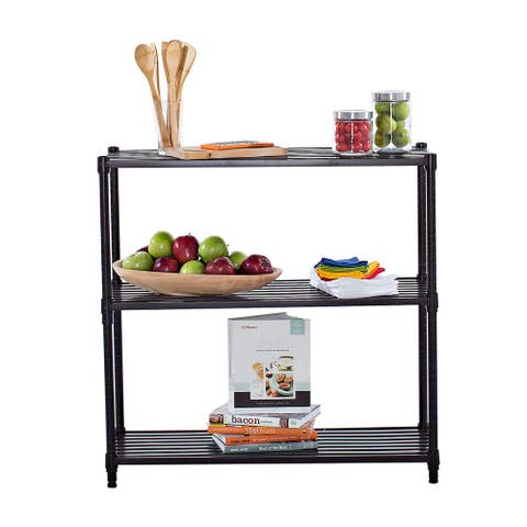 Trinity Dark Bronze 3-tier Slat Shelving Rack
