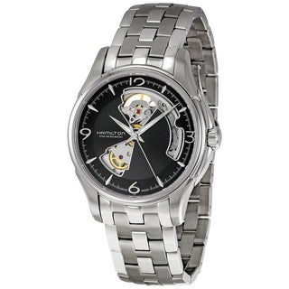 Hamilton Men's 'Jazzmaster' Black Skeleton Dial Open Heart Stainless Steel Watch