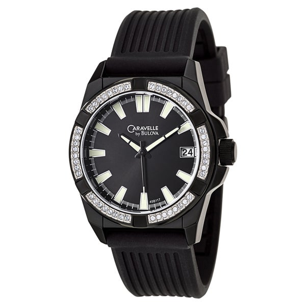 87bc1b675 Shop Caravelle by Bulova Men's 'Crystal' Black Stainless Steel Japanese  Quartz Watch - Free Shipping Today - Overstock - 8821909